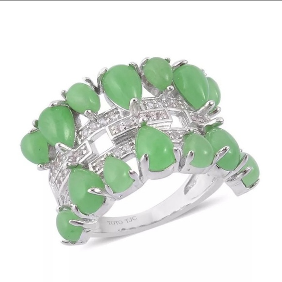 LC Jewelry - Jade & White Topaz Sterling Silver Ring